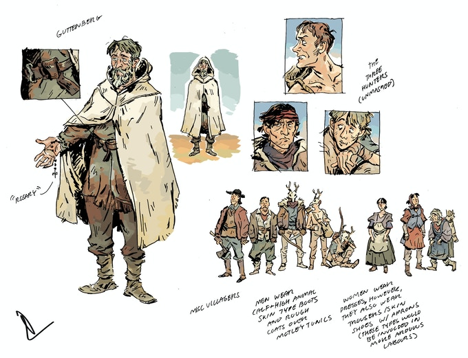 Gutenberg, the Hunters, and the townsfolk.