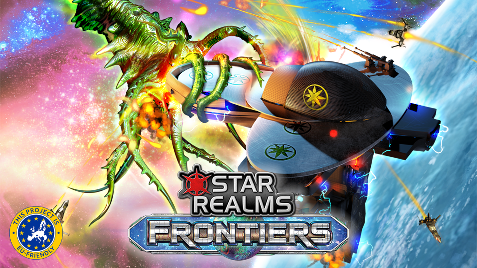 Frontiers is a 1-4 player standalone expansion for the multiple game-of-the-year award winning Star Realms Deckbuilding Game.
