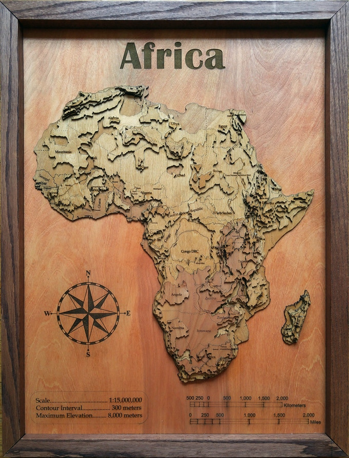 """Africa, 36"""" topographical"""