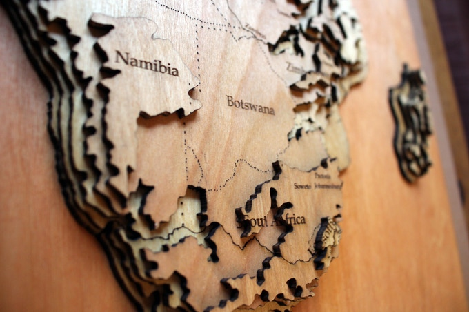 "Closeup: Africa, 36"" topographical"