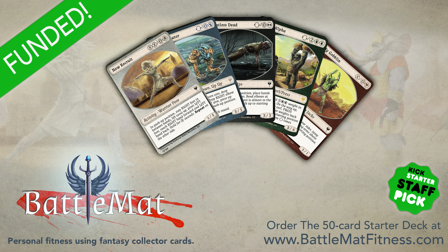 BattleMat is a personal training program that uses fantasy card game strategies and lore to guide your fitness journey!
