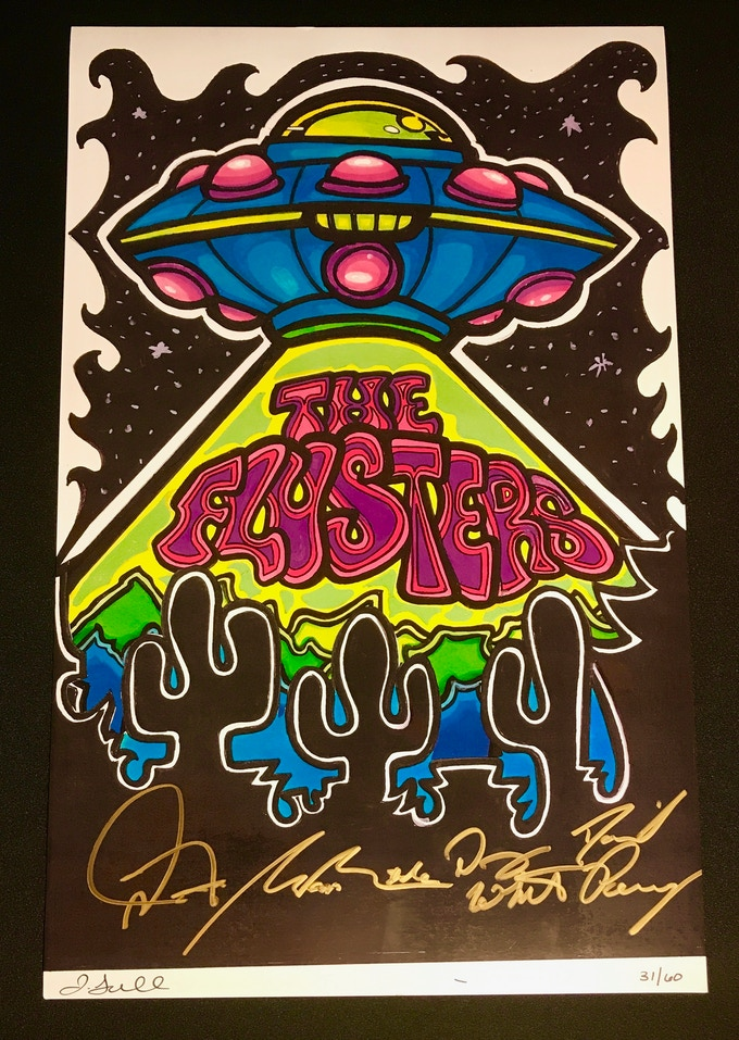 """11""""x17"""" 'UFO' Poster signed by The Flusters (if you already have this one we have another being designed now)"""