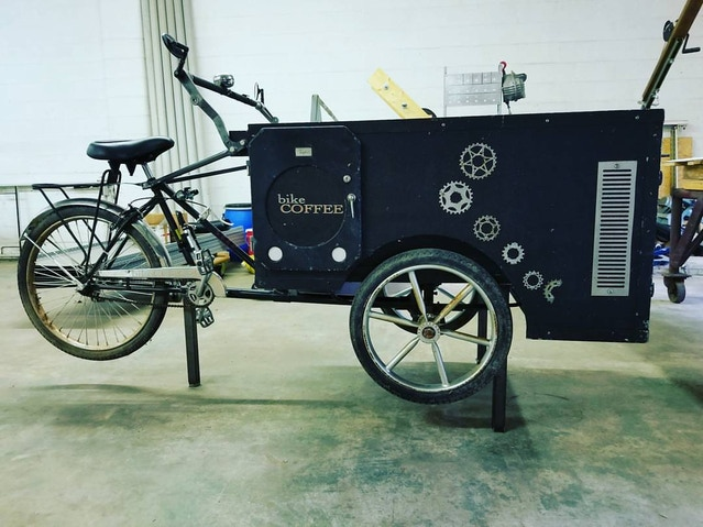 Bikecoffee Made Into A Raised Stand Bar For Drinking