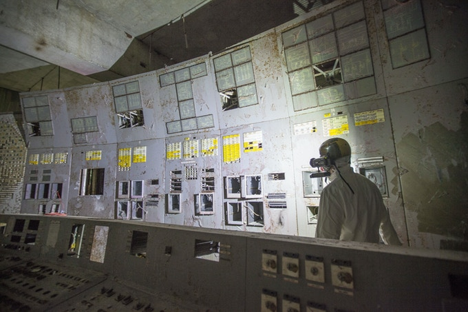 Control room of Unit 4. Chernobyl nuclear power plant.