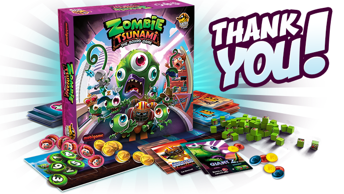 Zombie Tsunami is a Party Game for 3 to 6 players where everyone leads a group of Zombies and compete to be the largest horde!