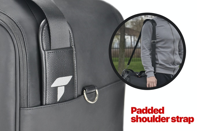 The shoulder strap comes padded, adjustable with nylon seatbelt webbing construction.