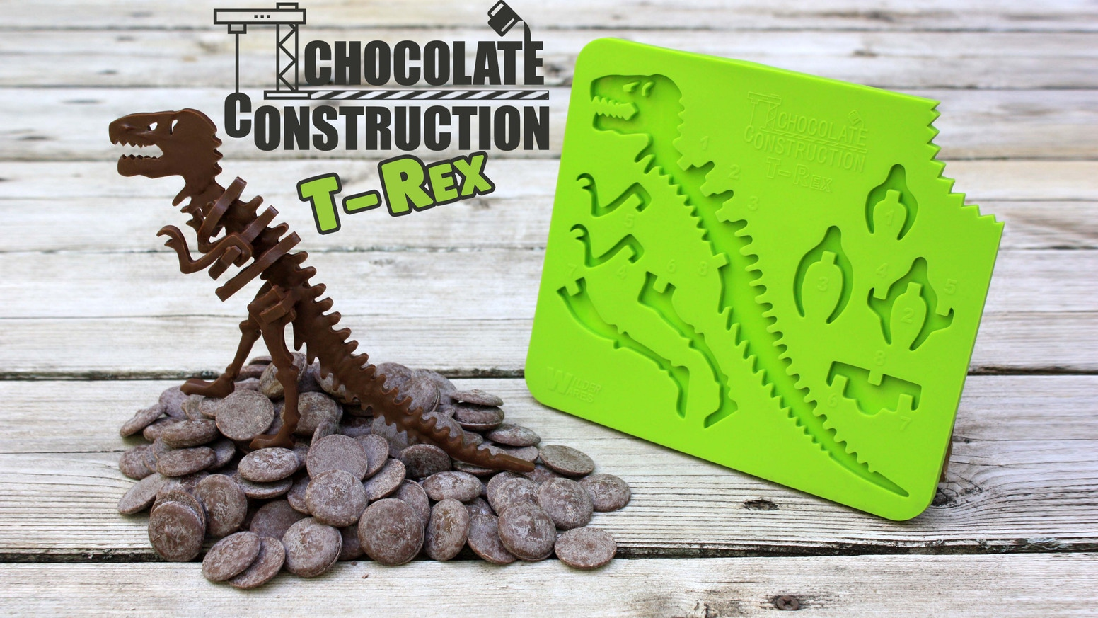 The world's first notched, chocolate-building mold! Melt, fill, excavate, and build your own edible, 6-inch tall, chocolate T-Rex!