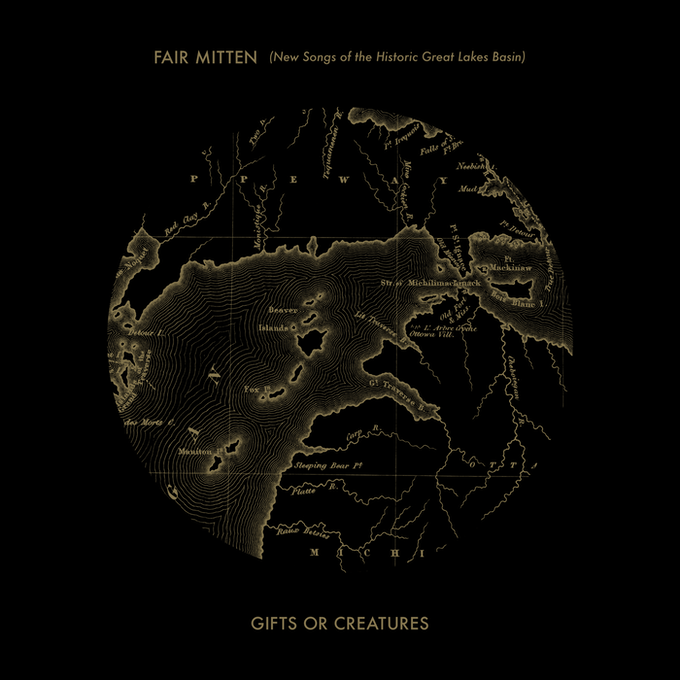 'Fair Mitten' Album Cover - 1838 Map of the Great Lakes