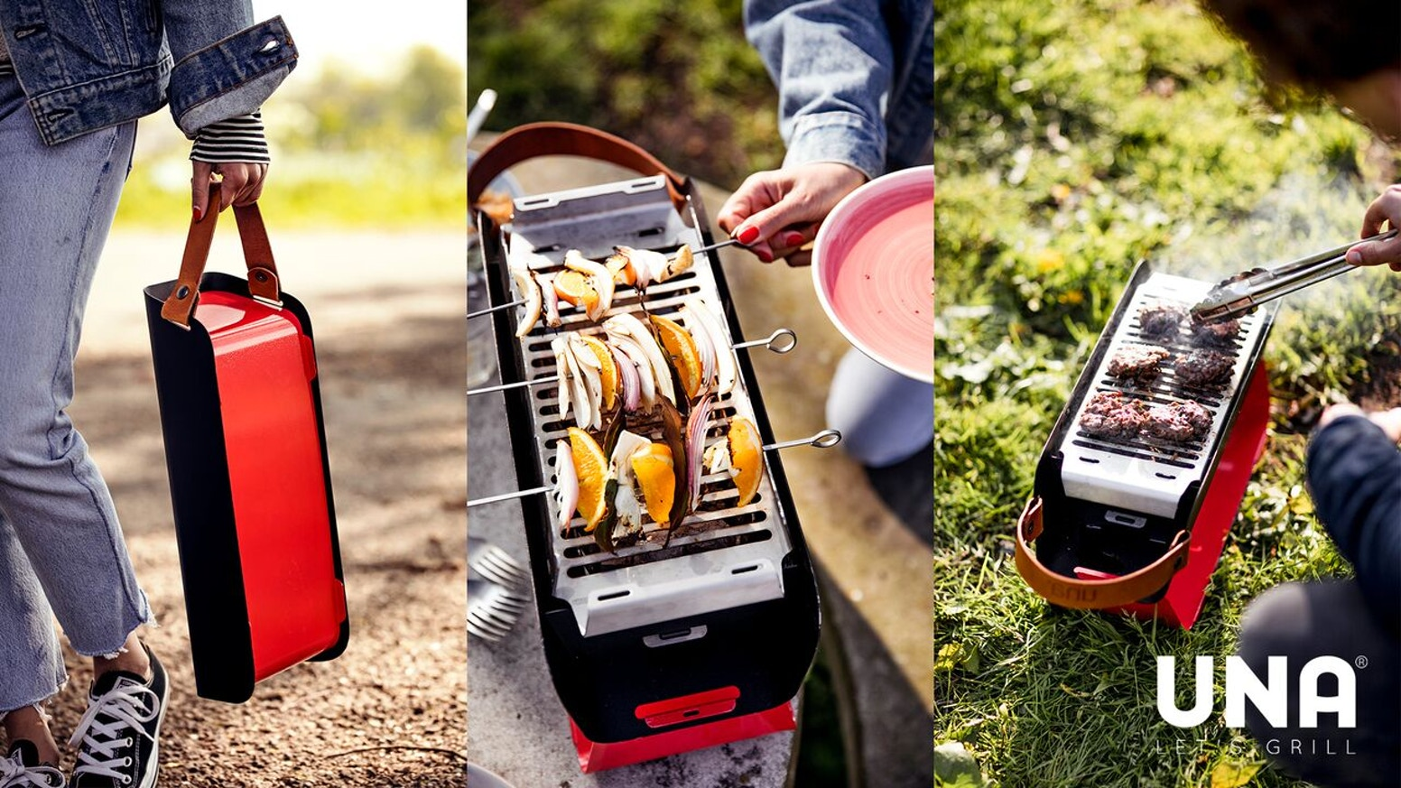 UNA is the smart, compact, portable charcoal grill. Now you can grill on your balcony, in the park, anywhere, year-round with UNA.