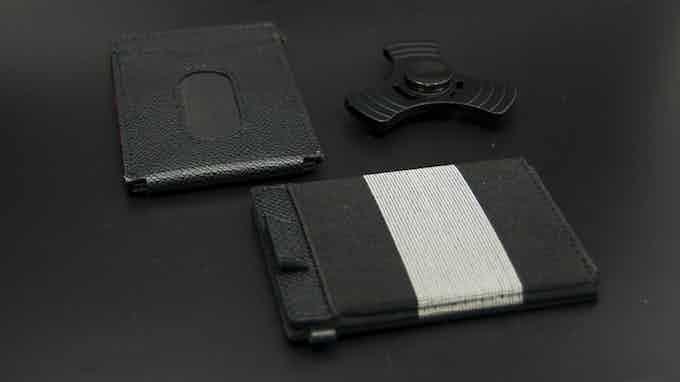 Black leather X-Flex Mini RFID slim wallet