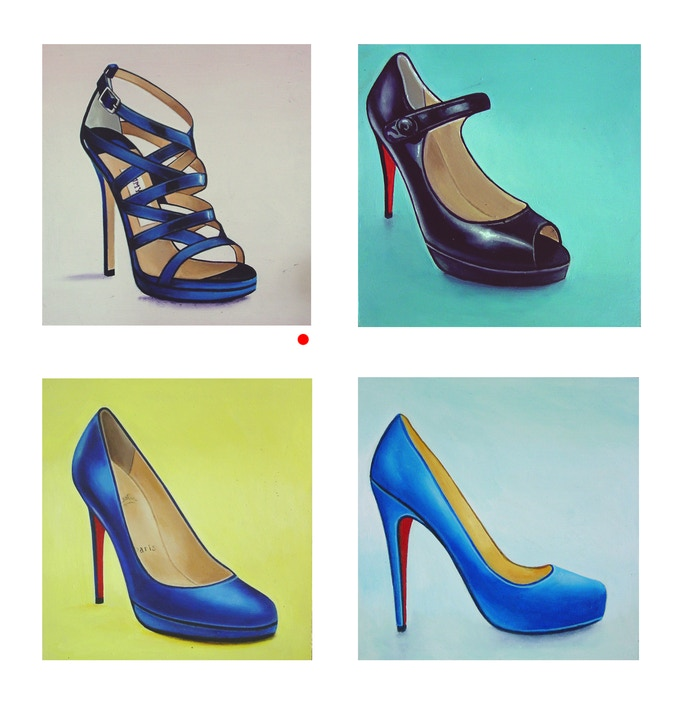 """4 Original Shoe Paintings, 8 x 8"""" or 20 x 20 cm and 9 1/2"""" x 10"""" or 25 x 24 cm. Just pick your favorite and let me know. If it has a red dot it's been called for already."""