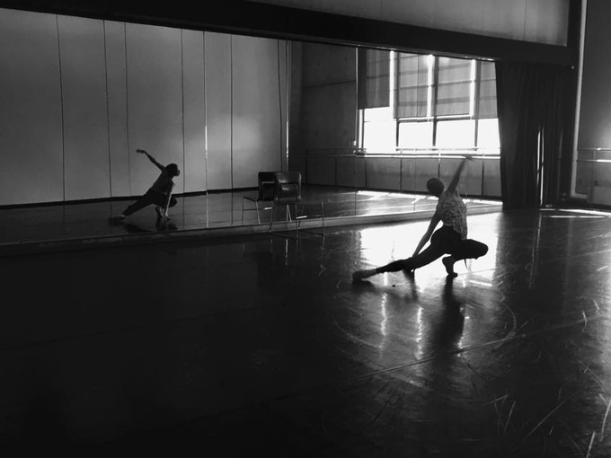 """Choreographer Julia Bengsston in rehearsal for the 2017 HG Premiere """"Full Space"""", dance theatre piece. Miss Bengsston is collaborating with playwright Samara Weiss and composer Brian Morales"""