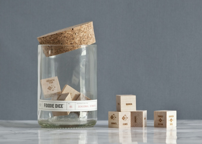 A set of 9 dice designed to inspire creative, whole-ingredients meals.