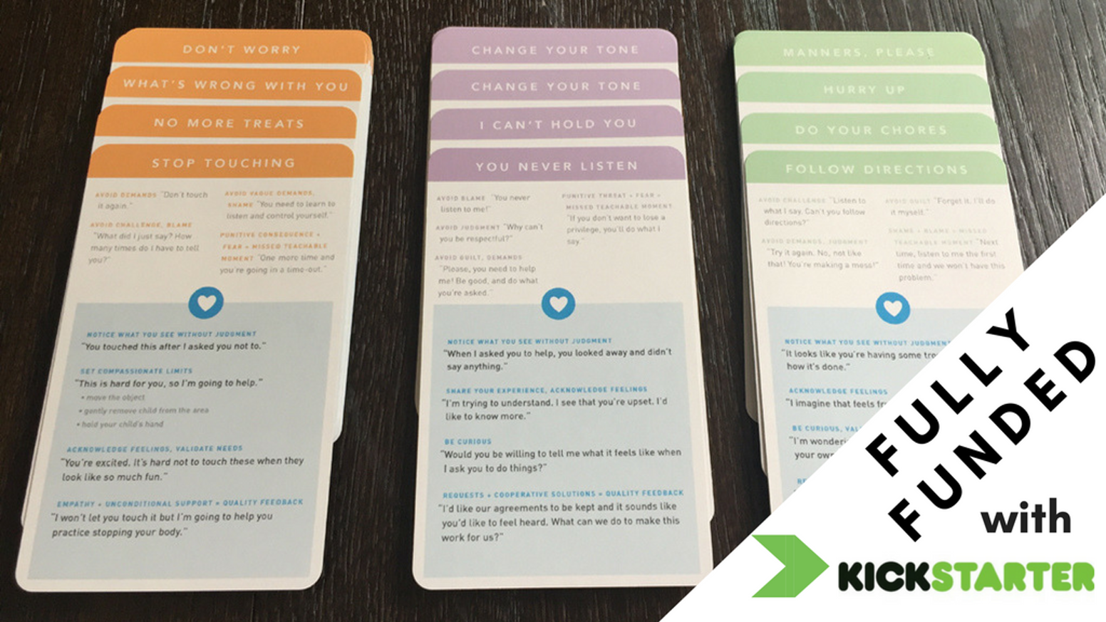 45 color-coded communication cards to help parents reduce stress, build connection, and model respectful communication for kids. NOW SHIPPING! Get yours today!