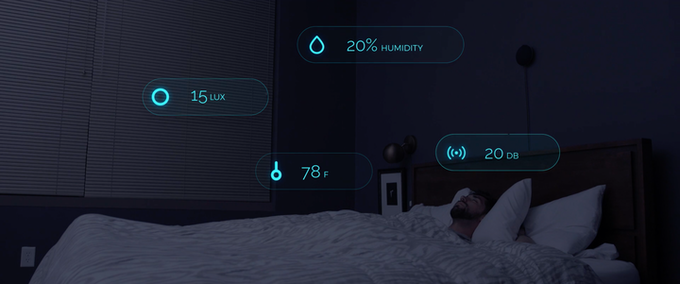 Temperature, humidity, ambient light and sound sensors detect the conditions in your bedroom.