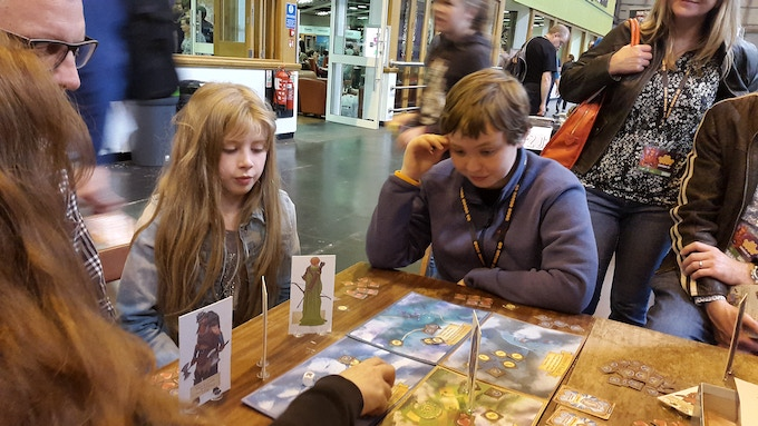 My favourite board game picture from the entire UK Games Expo, you can almost hear him thinking.