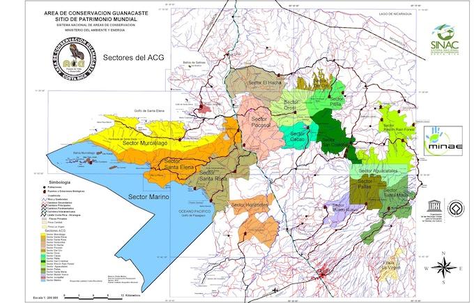 Map of Área de Conservacíon Guanacaste (ACG) with its 43,000 hectare Sector Marino