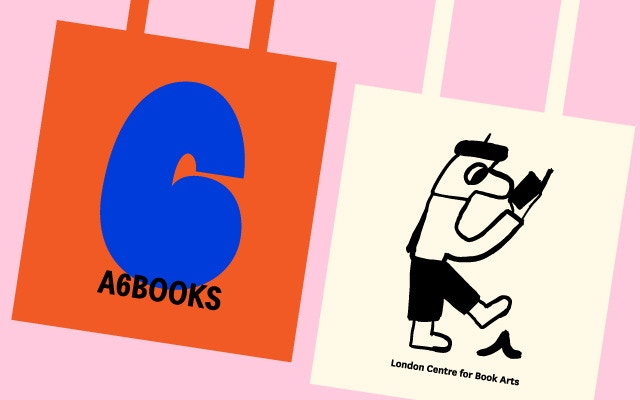 LCBA tote bag with artwork by Jay Cover & A6 BOOKS tote bag designed by Studio Bergini