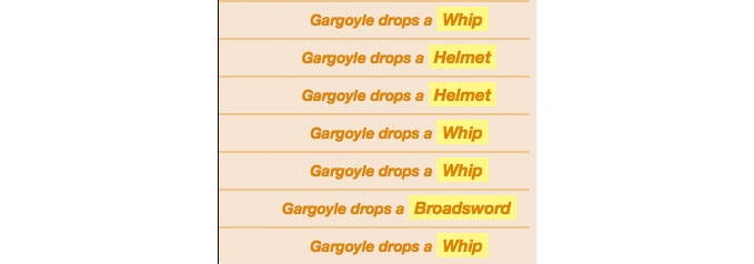 A Gargoyle's loot table, as shown on Roll20. Gargoyles will only ever drop a Whip (common), Helmet (uncommon), or Broadsword (rare).