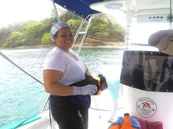 Yelba getting ready to find corals and tag them, Sector Marino, ACG. May 2017