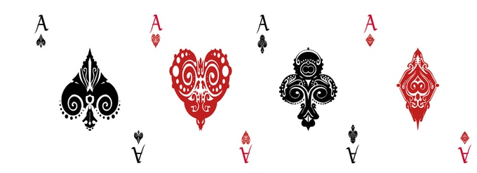 Red and Blue Deck Aces