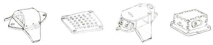 Concept drawings of the segment covers, building plate module, display screen, and speaker module.