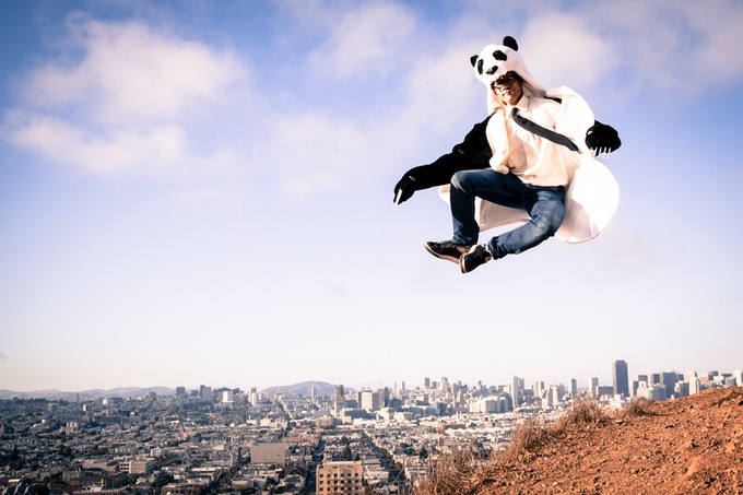 jumpy photo requiring 27 takes = one unhappy Panda Coat model