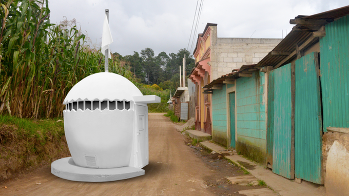 Rendering of NuMu replica in Comalapa, Guatemala, photo © Museum Associates/LACMA