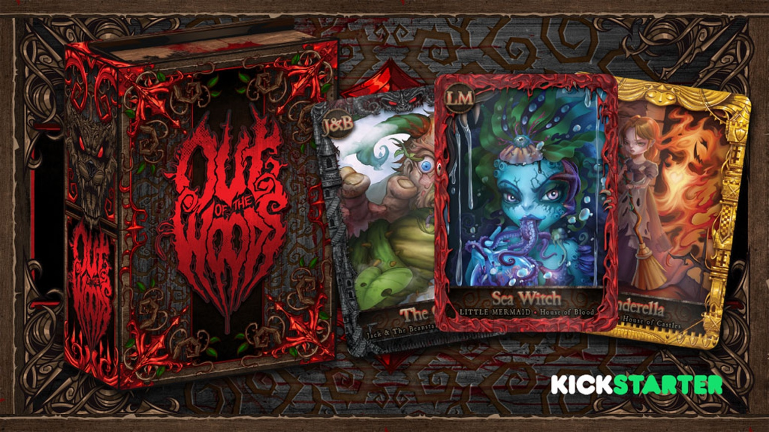 Out of the Woods is a collection of traditional fairy tales adapted into a Card Game, Illustrated Book, and compilation of Art Prints.