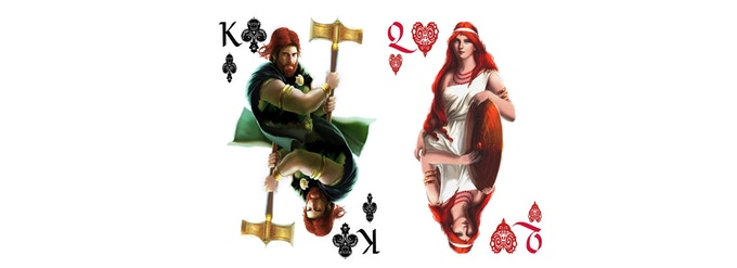 Red Deck King of Clubs and Queen of Hearts
