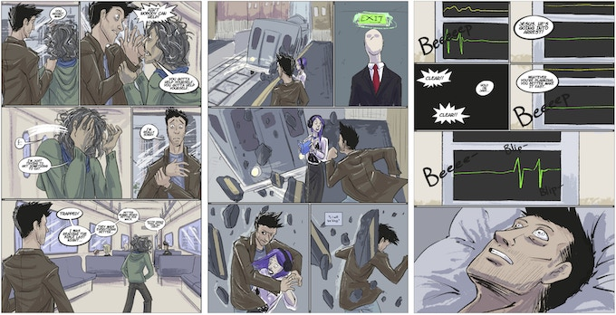 Issue #2  (Issue #1 was very dream-like. The art in Issue #2 is similar, but as Jake's reality becomes more clear, the artwork and color will evolve.)