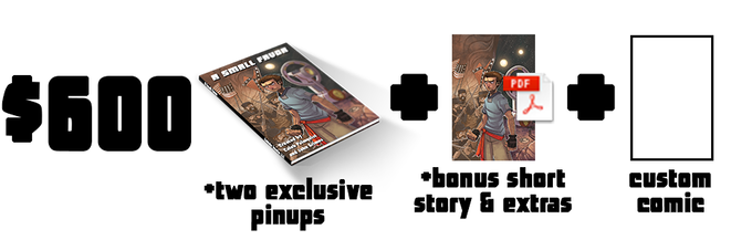 $600 - (A Physical Copy of the book, all Digital Rewards, plus a personal 10-page comic about anything you choose written and illustrated by Caleb Palmquist and John Grimes)