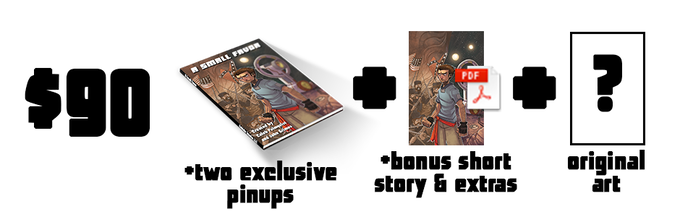 $90 - (A Physical Copy of the book, all Digital Rewards, and your choice of an original page of art from the comic by Nick OG, Walter Ostlie, or Brian Wolf)