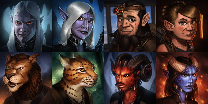 Character Races - Illustrated by John Ariosa