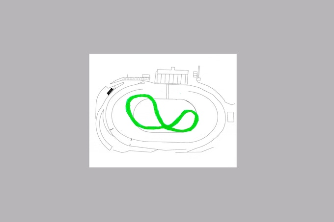 """Contribute $300 or more for a unique 11"""" x 14""""  drawing of the potential path for the game in No. 9 on a schematic rendering of the track at Irwindale Speedway"""
