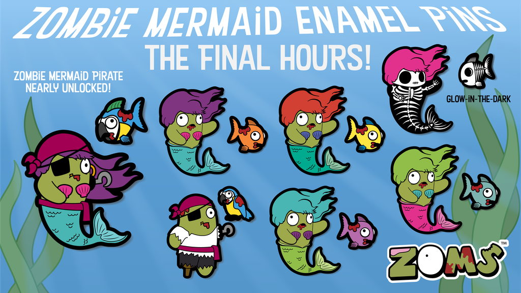 Zombie Mermaid Enamel Pins by ZOMs - Plush Zombies project video thumbnail