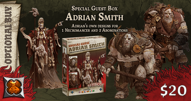 Image result for A box set of three Zombicide: Green Horde miniatures designed by Adrian Smith. It includes: The Lord of Skulls necro And his two pet Ogre Abominations Doom Gloom