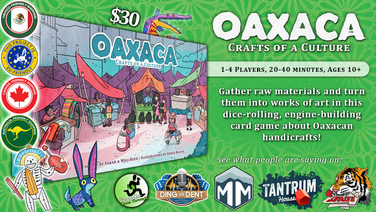 A Dice-rolling, Engine-Building Tabletop Game of Handicrafts for 1-4 players set in beautiful Oaxaca, Mexico.