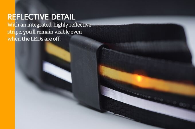 You won't be left in the dark on those rare nights you forget to charge your Crossbelt. We've included a reflective stripe on every belt that helps make you visible when the lights are off, and adds to the intensity when the lights are on.