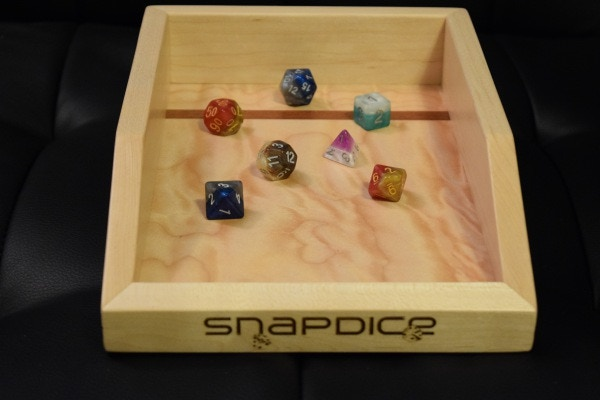 Halfsies Dice from Gate Keeper Games in a SnapDice Tray