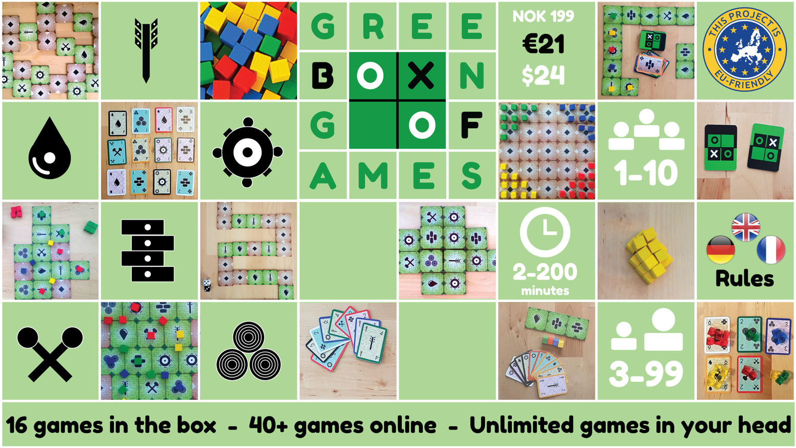 The Kickstarter campaign has ended, but the Green Box of Games is now available for preorder.