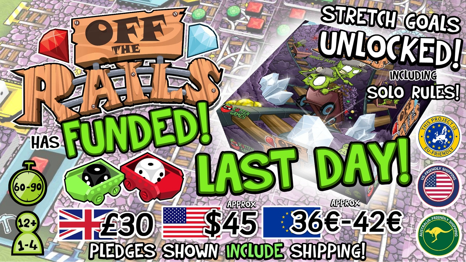 Off the Rails is a strategic table-top game of tile placement & risk / reward roller-coaster mechanics for 1-4 players for ages 12+.