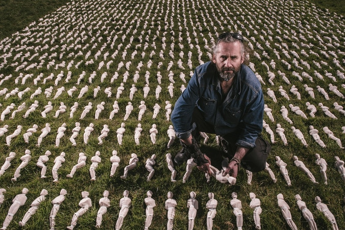 Artist Rob Heard with the shrouds laid out
