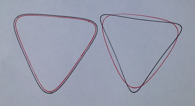 Parallel lines (left) and lines made using two adjacent pen holes (right)