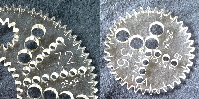 Alternating tick marks on every second pen hole (left) and Numbered pen holes with lettered columns (right)
