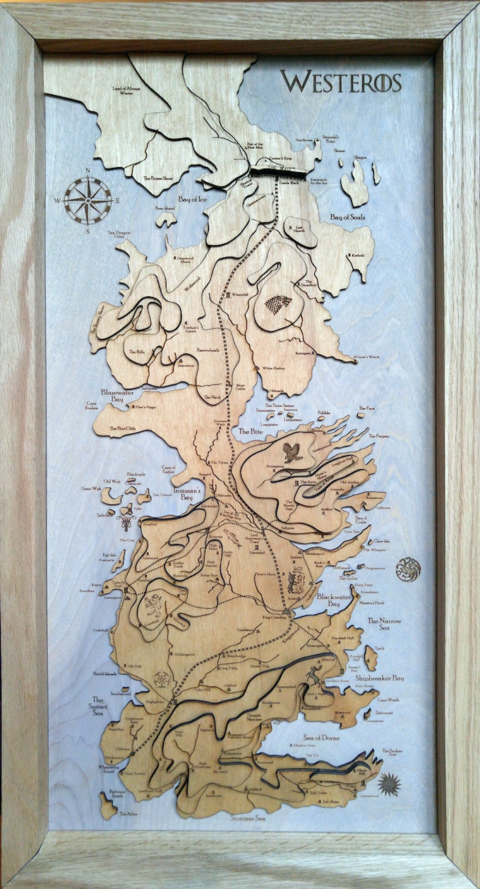 """Westeros Map, 30"""", from Game of Thrones"""