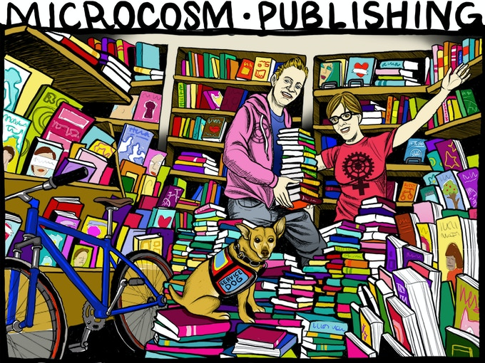 In 2015 I merged with Microcosm Publishing. Here are me, Joe, and Ruby, drawn by Cecilia Granata