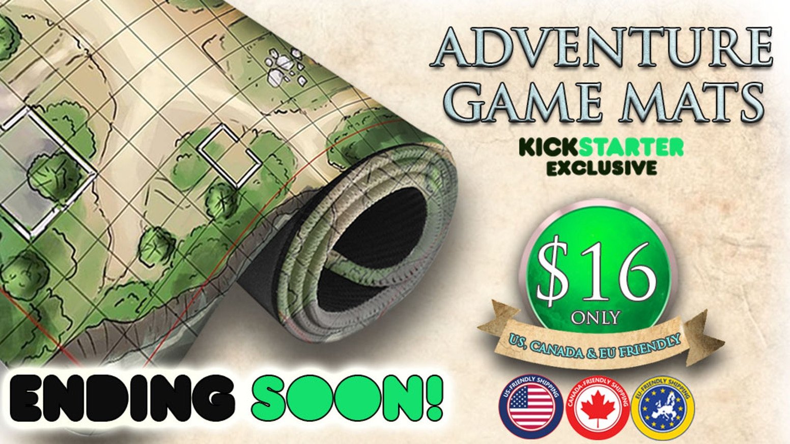 Kickstarter Exclusive: 10 Fantasy designed Adventure game mat that can be used for your campaign or gaming purposes.