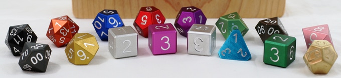 16 dice in all colors and a pine engraved case to carry them in.