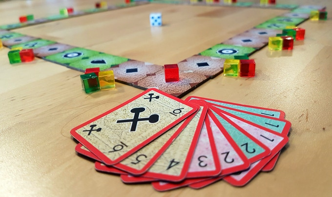 Move your spaceship around the galaxy to collect cargo. Roll dice to move, but play cards to manipulate the results. Both luck and skillfull planning is needed to win!
